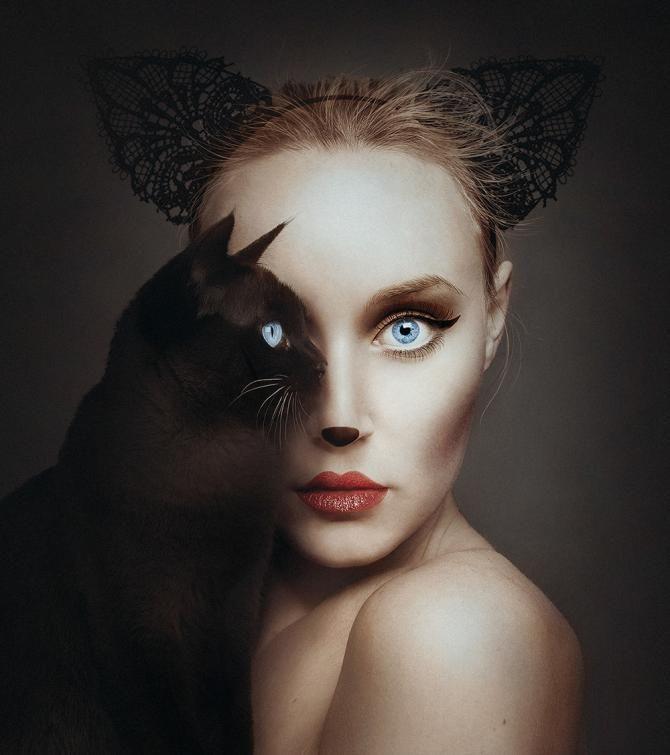 дівчина з котом