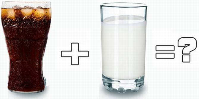 Coca-cola and milk