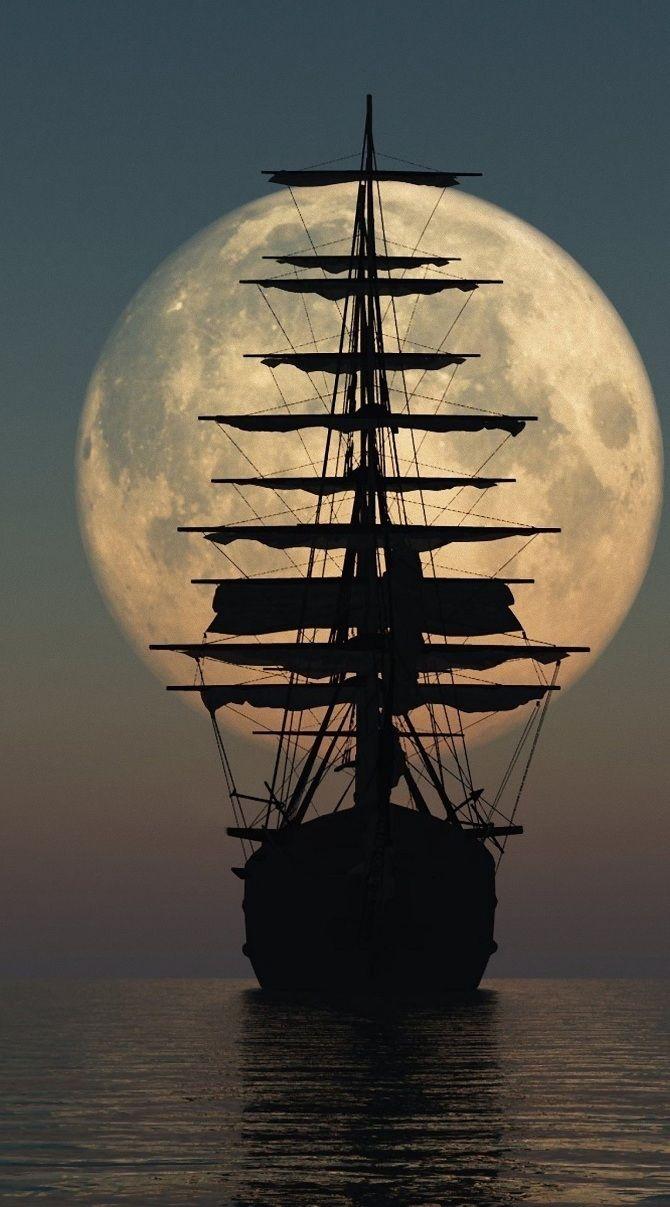 полная луна, корабль