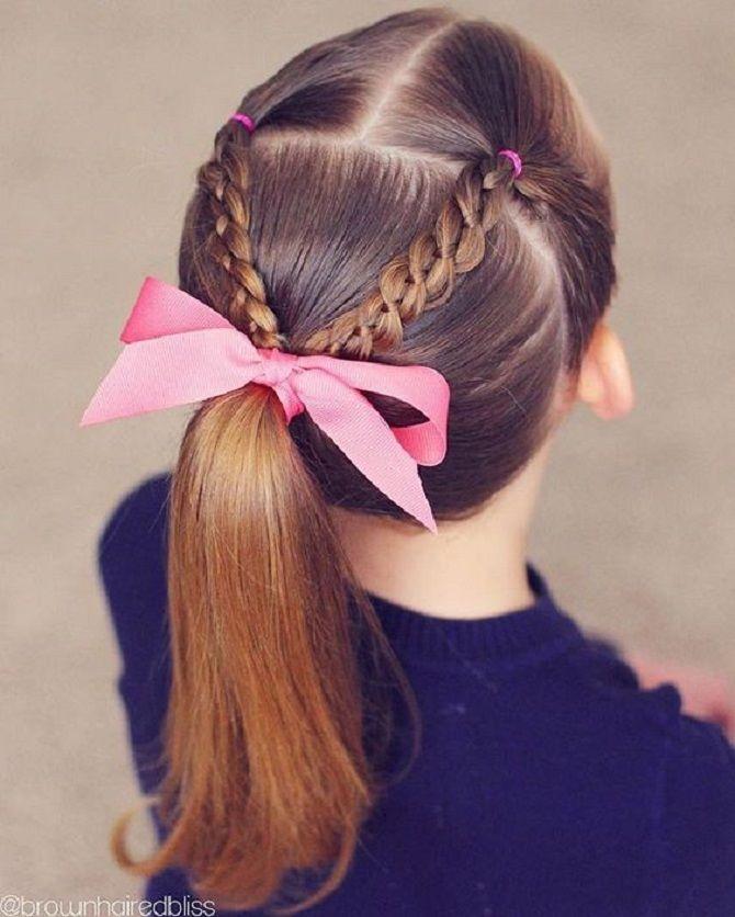 прически с лентами на средние волосы