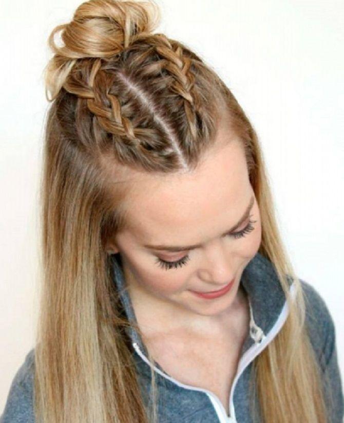 полураспущенные волосы с пучком