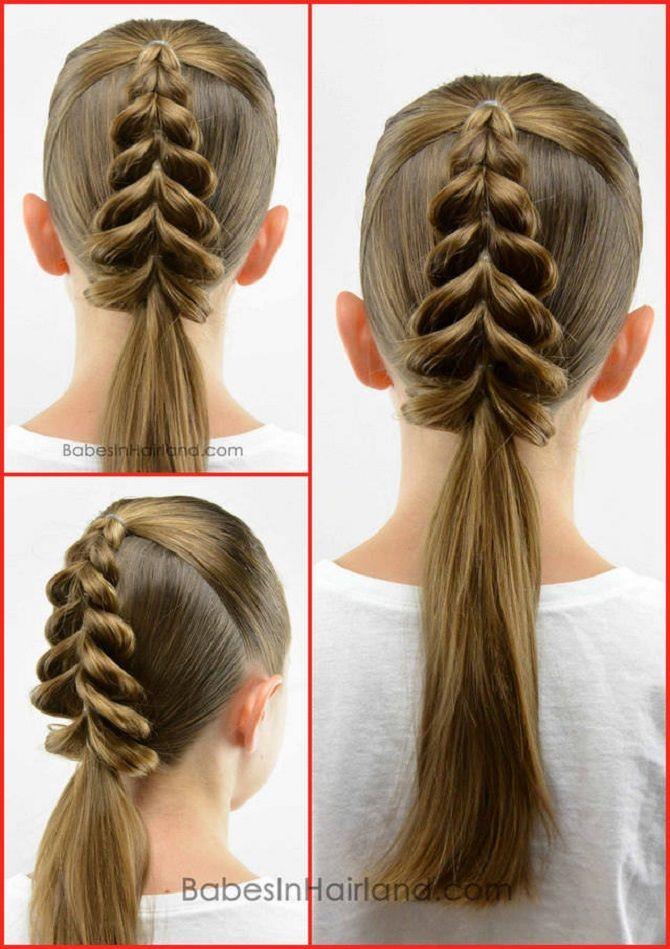 прически для средних волос с резинками