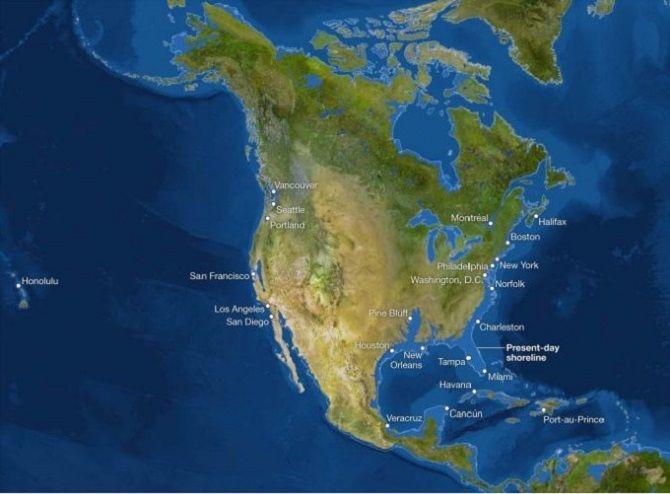 Северная Америка карта Глобальное потепление