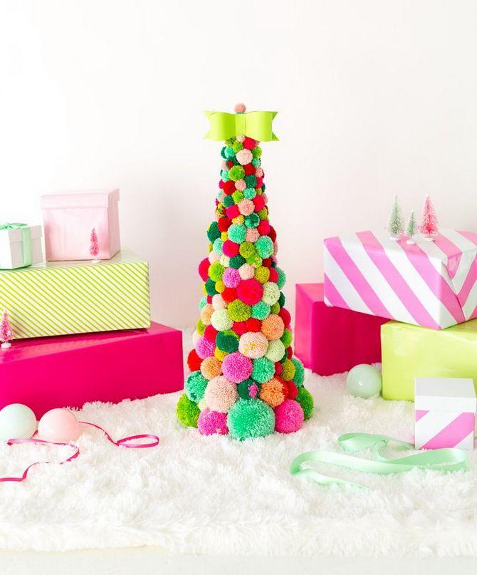 как сделать новогоднюю елку своими руками из помпонов