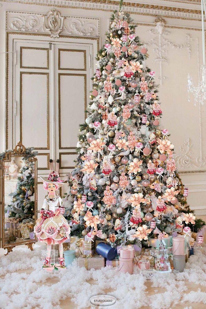 украшаем елку в розовый цвет
