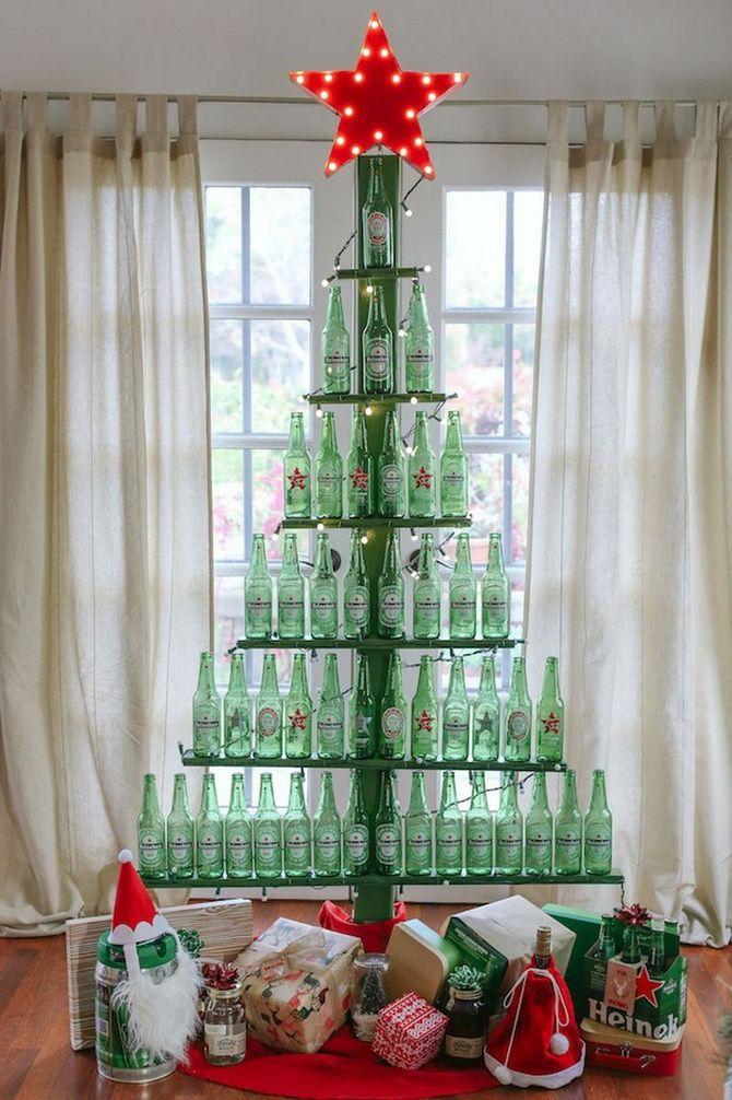 новогодняя елка из пивных бутылок