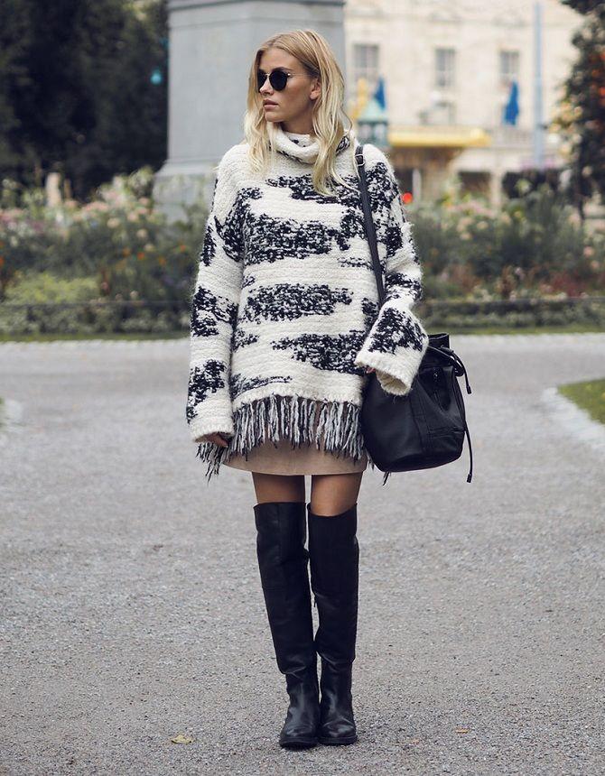 вязаный свитер с юбкой: тенденции 2019-2020