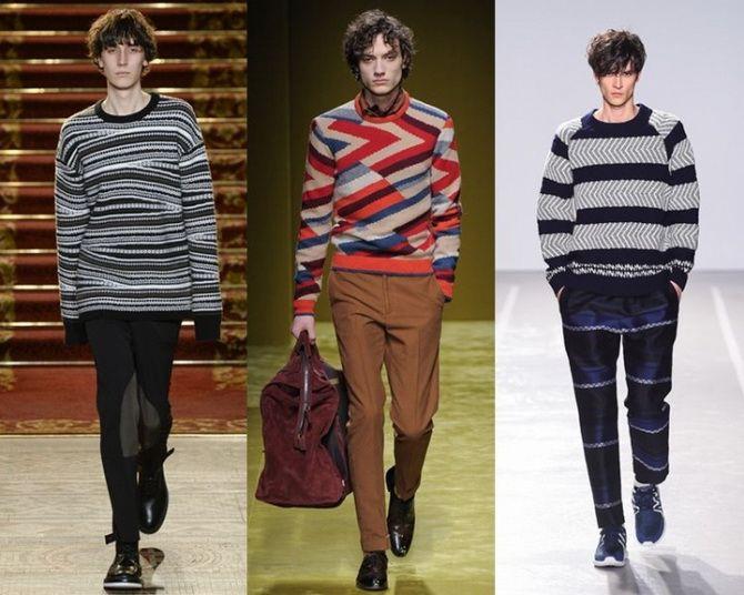 мужские свитера 2019-2020 с геометрическим узором
