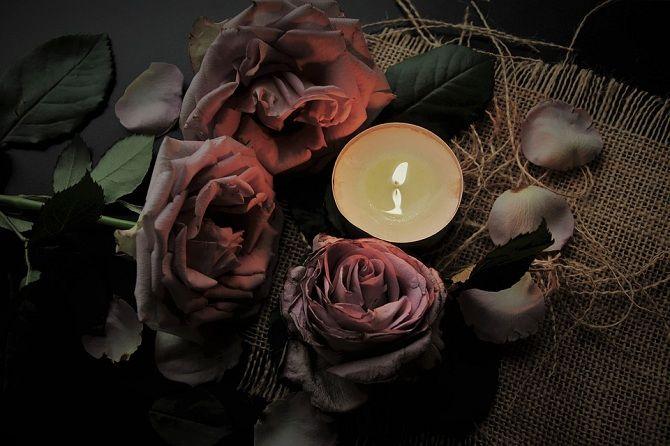 розы свечи