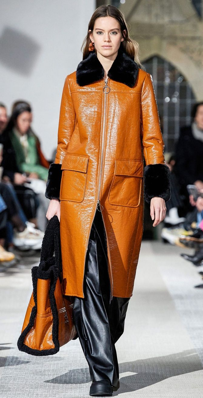 Кожаные куртки и пальто тренд зимней моды 2019-2020 года