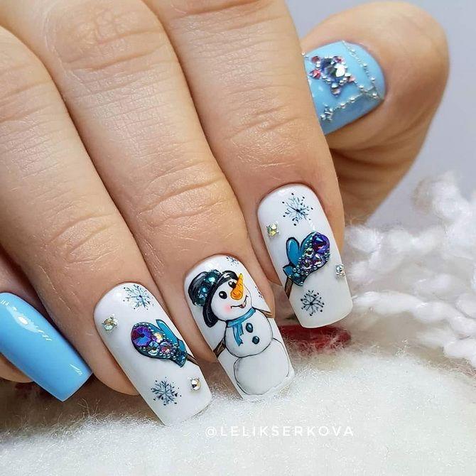 маникюр со снеговичком