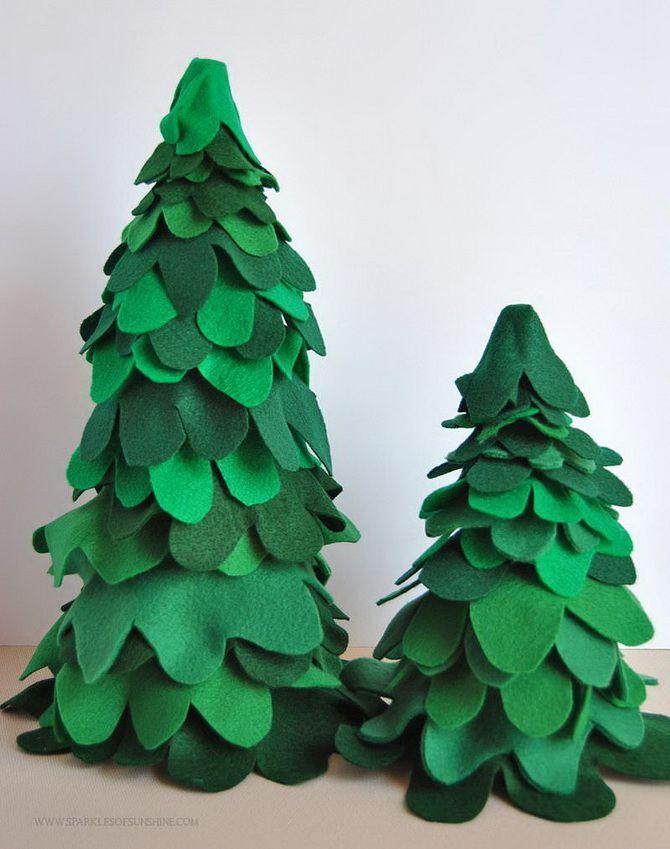 новогодние елки из фетра своими руками