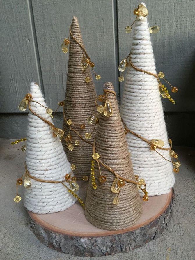 новогодние елки из шпагата своими руками