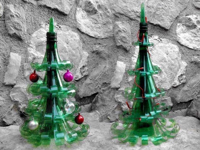 елка из бутылок хендмейд