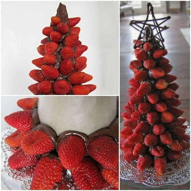 съедобные елки из клубники на новый год