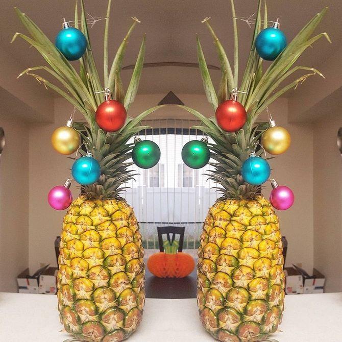 съедобные елки из ананаса на новый год
