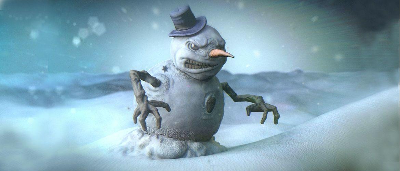 Вандал спробував зламати на машині триметрового сніговика, але той виявився міцнішим