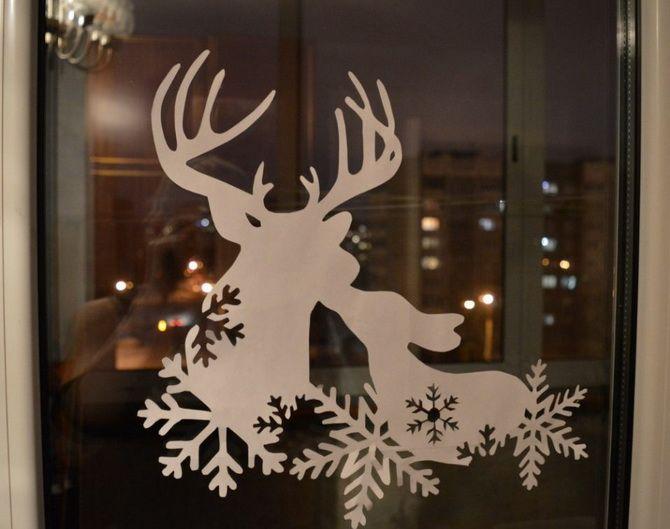 украсить окна в классе к новому году