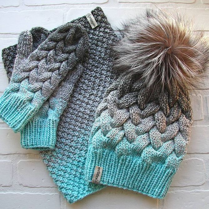 вязаный набор шапка варежки хомут