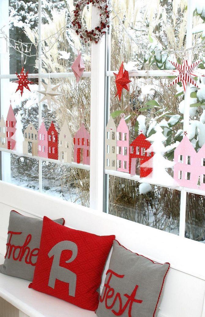 как оригинально украсить окна к новому году