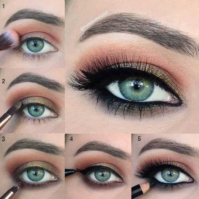 новогодний макияж зеленые глаза пошагово