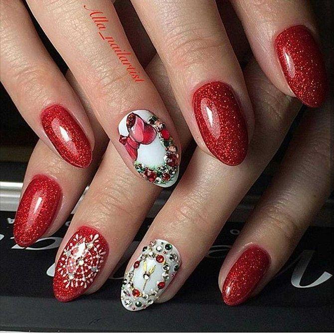 красный маникюр на новый год на короткие ногти
