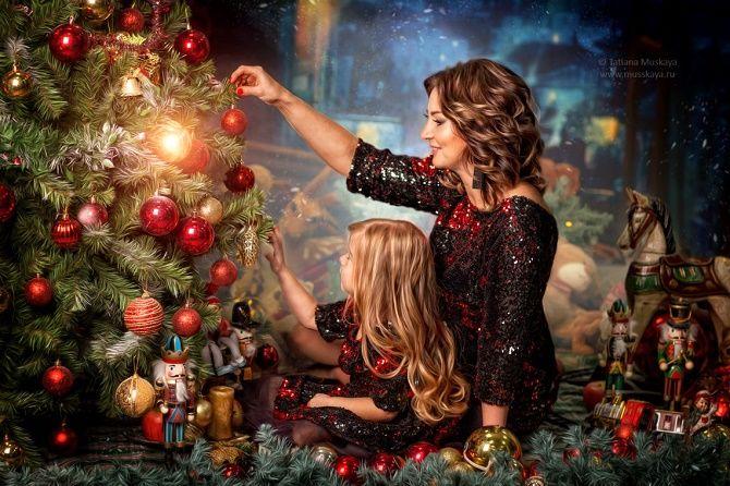 новогодняя фотосессия мама дочка