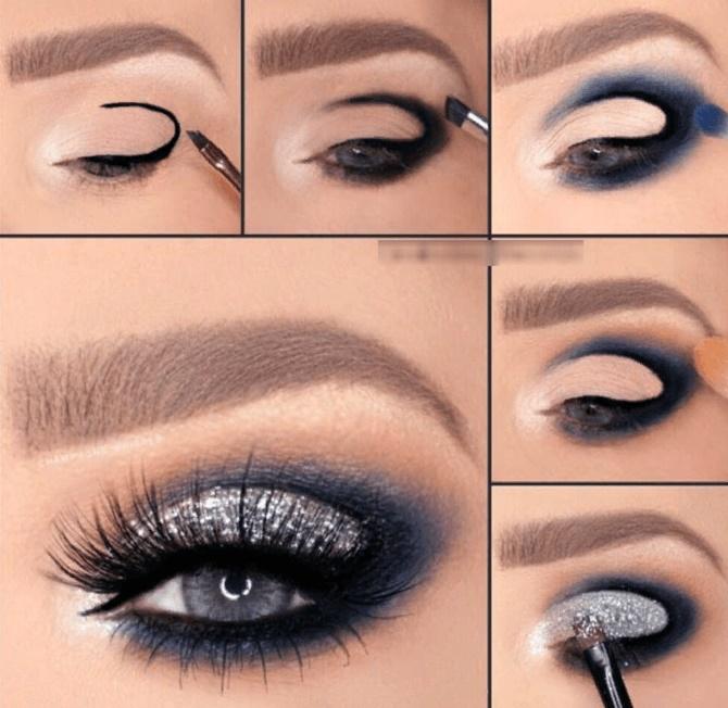 макіяж на новий рік для блакитних очей покроково