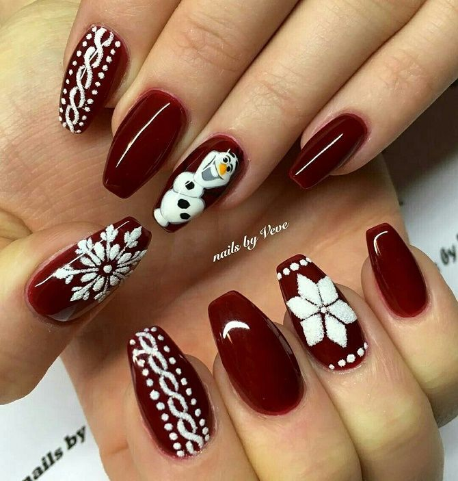красный новогодний маникюр на длинные ногти