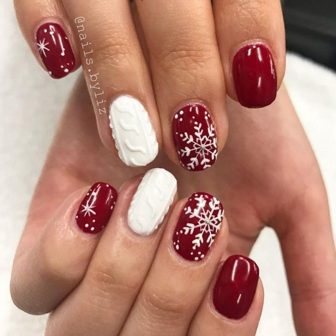 новорічний маніікюр червоний з білим