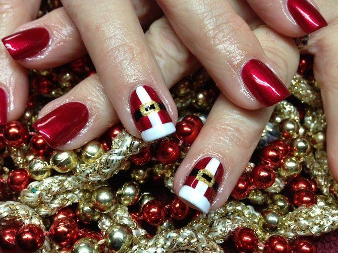 новорічний манікюр червоний на короткі нігті