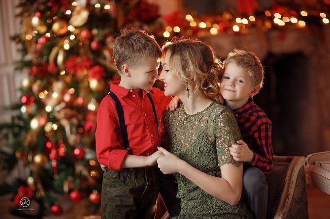 новогодняя фотосессия мамы с сыном