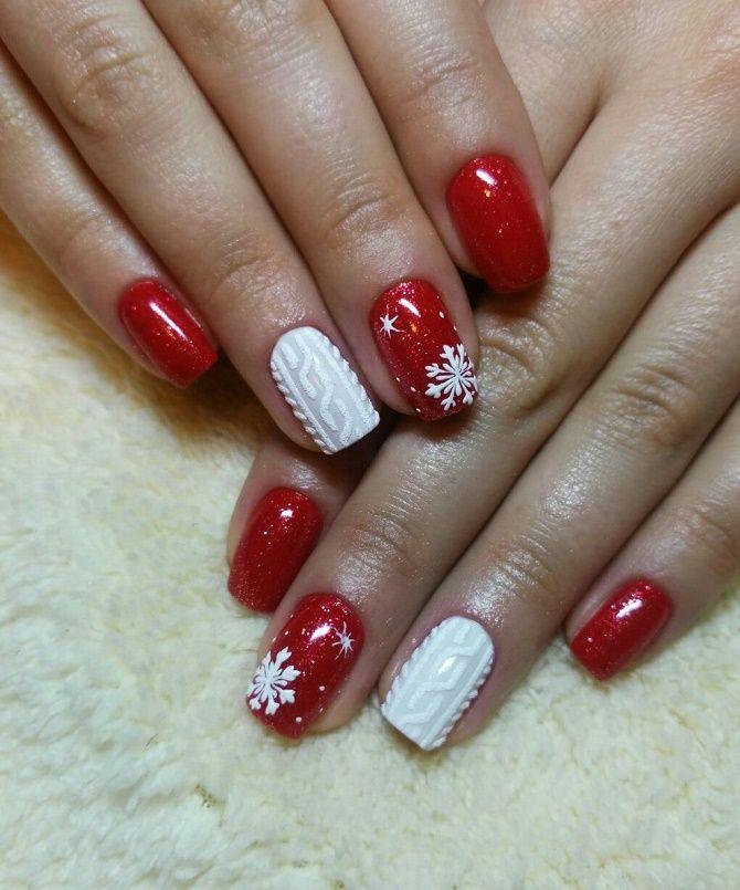 червоний вязаний новорічний манікюр