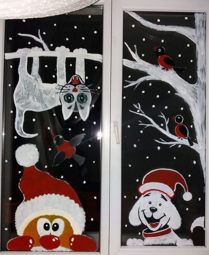 шаблоны из бумаги на окна новый год