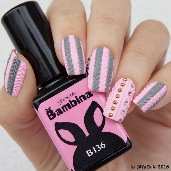 вязаный дизайн ногтей