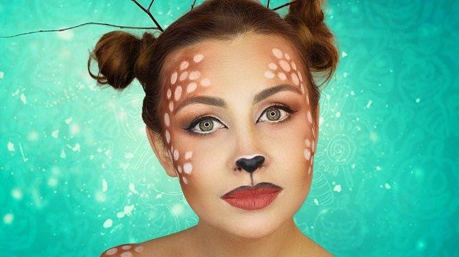 макияж оленя на новый год