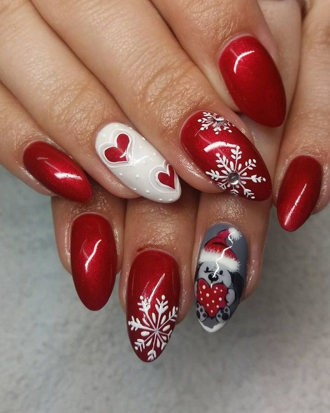 червоний манікюр на новий рік на довгі нігті