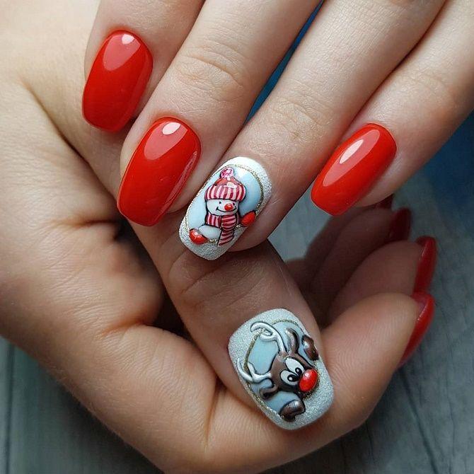 красный новогодний маникюр снеговик