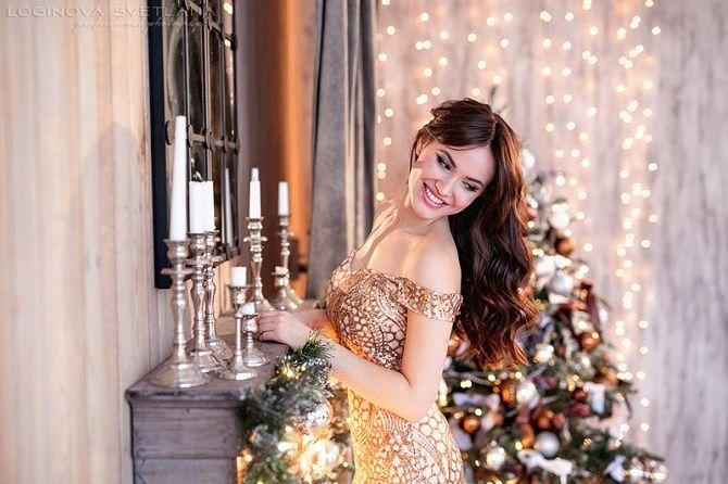 фотосессия девушки на новый год