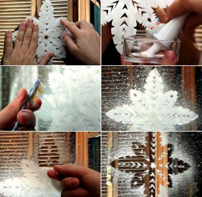 украсить окна зубной пастой к новому году