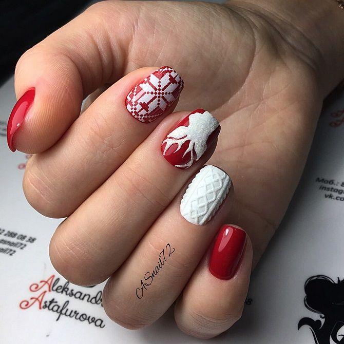 червоний вязаний манікюр на новий рік