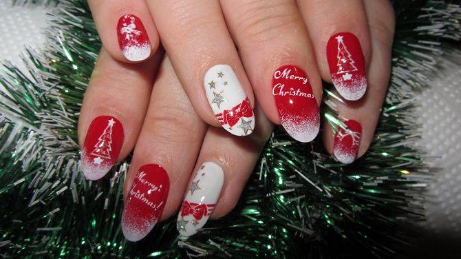 червоний новорічний манікюр 2020 на короткі нігті
