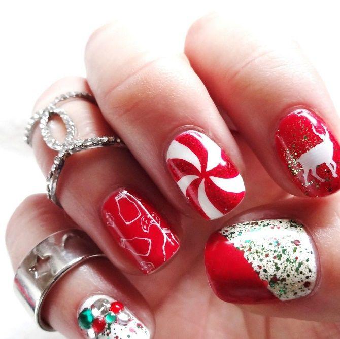 цукерковий червоний новорічний манікюр