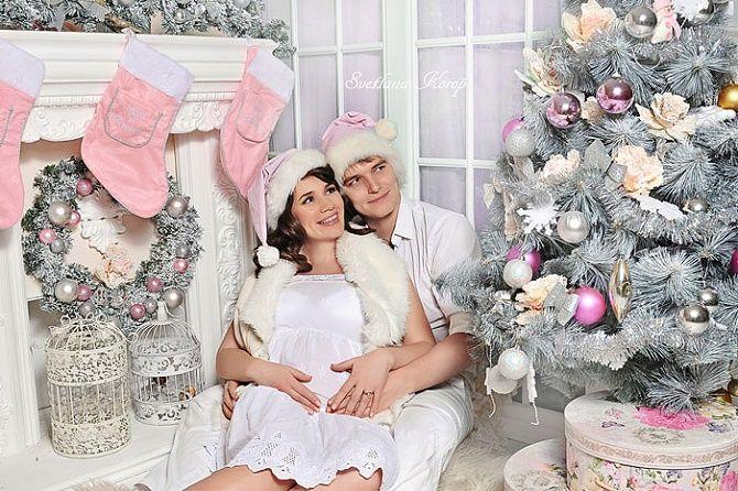 новогодняя фотосессия беременных с мужем