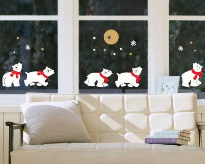 новогодние окна с медведями
