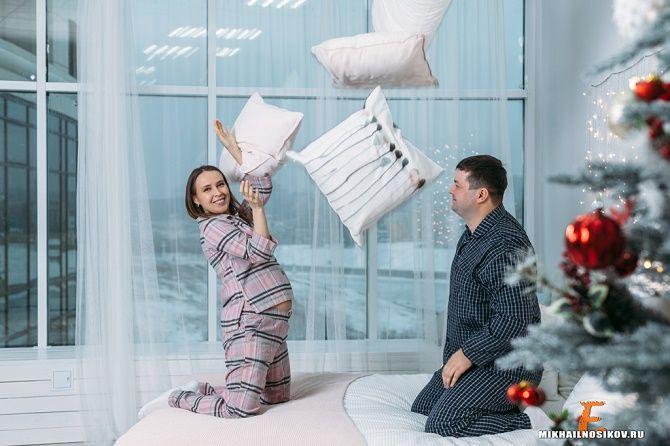 новогодняя фотосессия беременных 2020 с мужем