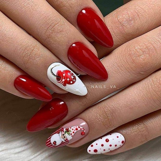 новорічний манікюр червоний з білим