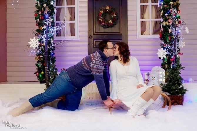 новогодняя фотосессия беременных с мужем 2020