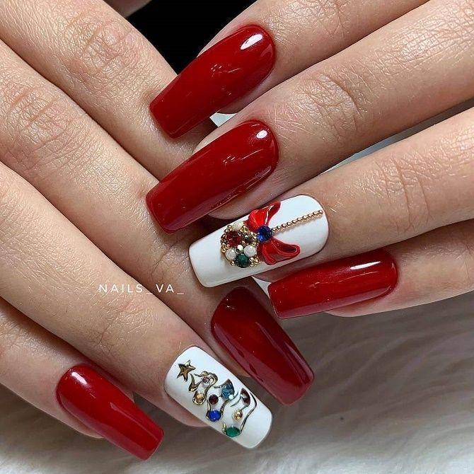 червоний новорічний манікюр на квадратні нігті