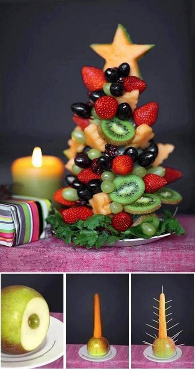 фруктова новорічна нарізка на стіл 2020